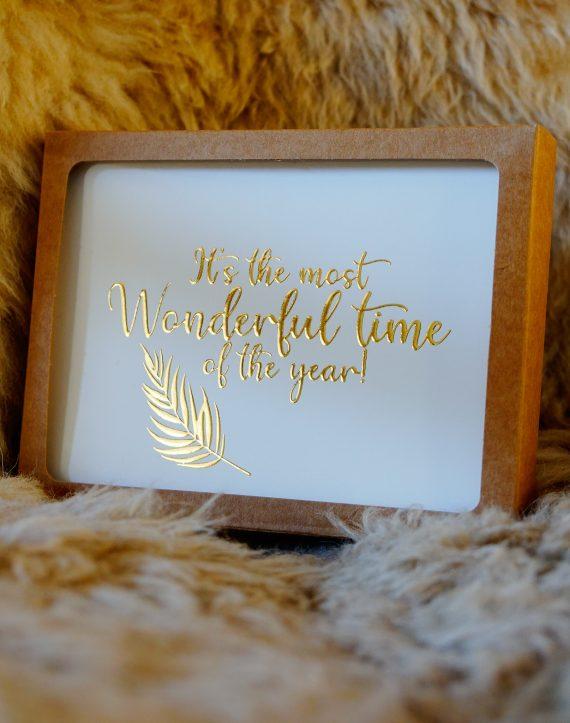 Duurzame Kerstkaart gouden letters