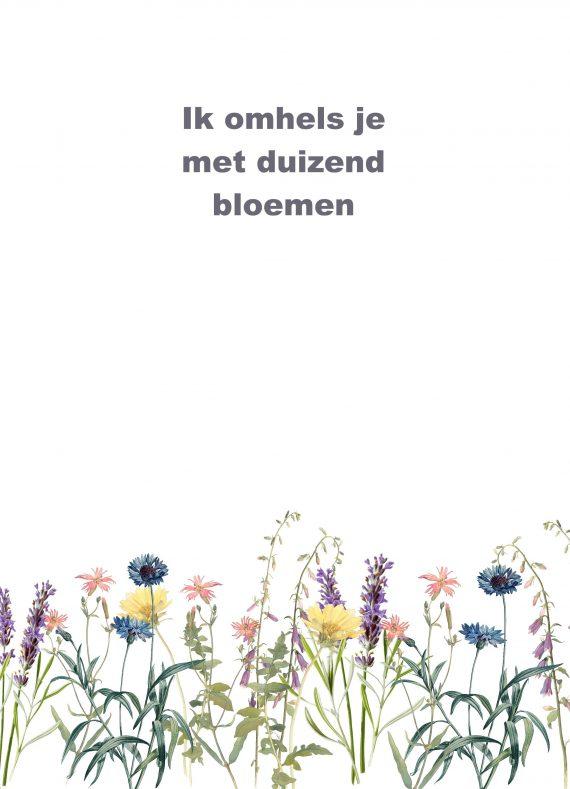 duurzame kaart met illustratie van bloemen