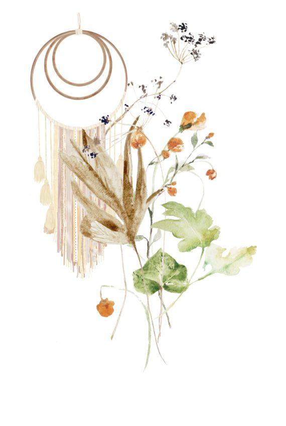 Duurzame kaart met wilde bloemen illustratie